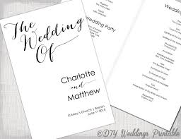 Booklet Program Template Wedding Program Template Calligraphy Black White Printable