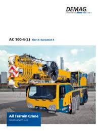 Demag Ac 100 Load Chart Demag Ac 100 4l Specifications Cranemarket