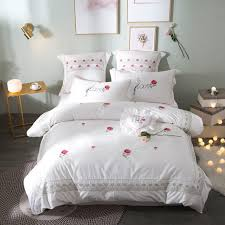 cute bed comforters. Unique Comforters Cute Luxury Pink White Red Rose Bedding Set Queen King Size 100Cotton  Embroidery Bed For Comforters F