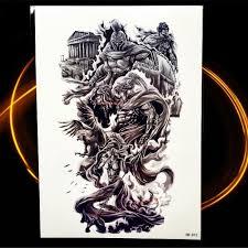 Goldocean древний герой спартанцев воин временная татуировка для мужчин черная вода