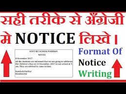 How To Write A Notice In English - Format Of Notice Writing - Youtube