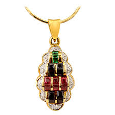 emerald ruby sapphire diamond pendant