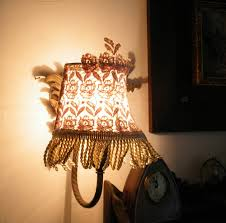 wall mounted shabby chic lamps with diy lamp shade and metal stand for bedroom lighting ideas