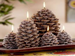 Pine Cone Candles Pinecone Christmas Decorations Christmas Pine Cone Candles Pine