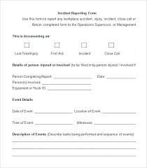 Incident Report Template Employee Police Generic Template Lab Free