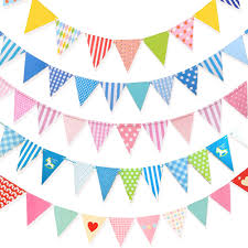 Triangle Banner 4pcs Festival Triangle Banner Cotton Fabric Buntings Flags