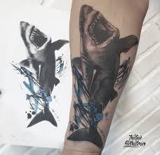 тату треш полька акула на предплечье эскиз мастера тату трешполька