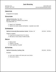 Resume Template Without Work Experience Resume For Study
