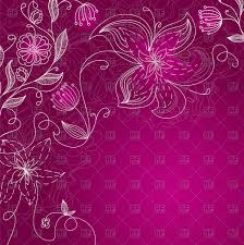 Purple Flowers Backgrounds Purple Floral Background Line Art Blossoming Flowers Stock Vector Image