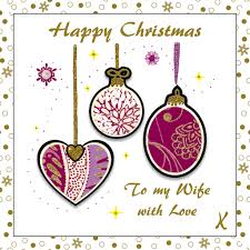 Purple Christmas Card Wife Purple Baubles