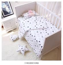 3pcs set baby bedding set cotton crib bedding for newborn black white clouds raindrop design flat