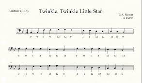 Baritone Finger Chart Treble Clef 3 Valve Euphonium Trumpet Transfer