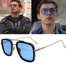 <b>Fashion</b> Avengers Tony Stark Sunglasses <b>Men Metal Square Iron</b> ...