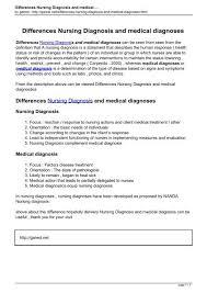 Nanda Nursing Diagnosis Differences Nursing Diagnosis And Medical Diagnoses