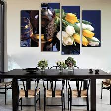 dining room canvas art. 4 Piece Beautiful Tulip Flowers Wine Painting Modern Home Wall Decor Dining Room Canvas Art HD A