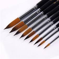 9pcs set nylon paint brush set round pointed art for supplies oil painting brush acrylic