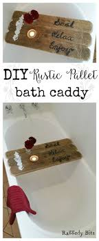 using an old pallet you can make your very own diy rustic pallet bath caddy