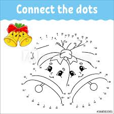 Two dots is a very addictive puzzle game where you have to connect dots. Dot To Dot Game Draw A Line Christmas Bells With Holly Leaves And Bow For Kids Activity Worksheet Coloring Book With Answer Cartoon Character Buy This Stock Vector And Explore Similar
