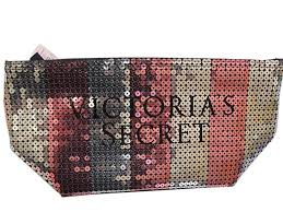 victoria s secret signature bling sequin stripe make up cosmetic bag pink silver