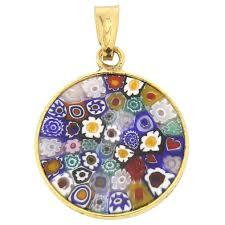 small millefiori pendant multicolor in gold plated frame 18mm