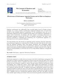 Pdf Effectiveness Of Performance Appraisal System And Its Effect On