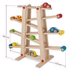 eichhorn wooden marble run and runway with toys