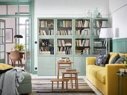 furniture for living room. create a calm living room in green, grey and yellow. green bestÅ closed cabinets furniture for