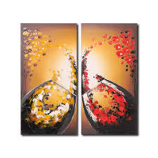 flower oil painting wine glass canvas painting 2 panel modern art wall decoration wood frame inside