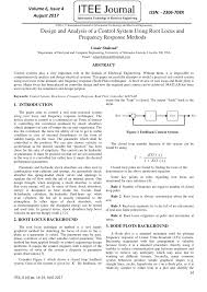 Pdf Design And Analysis Of A Control System Using Root
