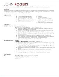 Restaurant Worker Resume Resume Examples For Restaurant Jobs Resume