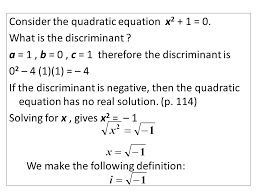 consider the quadratic equation x 2 1 0 what is the discriminant