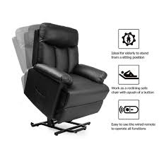 power lift chair and power recliner in pu leatherliving room recliner with heavy duty reclining mechanism in black finish