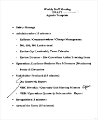 sample agendas for staff meetings staff meeting agenda sample newest depiction weekly agenda 3 marevinho