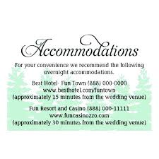 Wedding Guest Details Template Accommodation Hotel Information Card