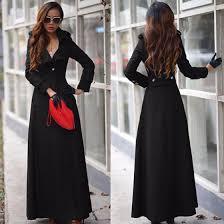 women s black plain full length turndown collar wool blend slim military long trench coat