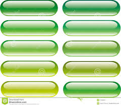 Green Glossy Button Set With Reflection Stock Illustration