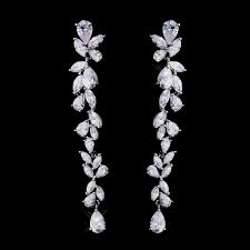 cascading dangle bridal earrings cubic zirconia cz prom pageant wedding long