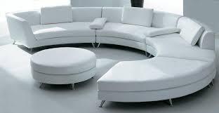 white circular leather sofa w ottoman