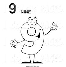 Small Picture Vector Coloring Page of a Black and White Friendly Number 9 Nine