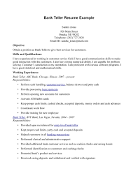 Bank Teller Objective Sample Resume For A Bank Teller Shalomhouseus 1