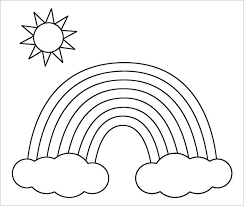 Rainbow Coloring Pictures Printable Rainbow With Clouds And Sun