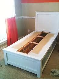 DIY twin bed with storage - you could do it with any size. I keep ...