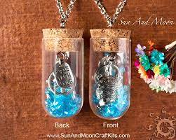 ocean theme glass vial pendant kit with charms and beads antiqued silver