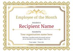Employee Of The Month Template With Photo Yellow Ribbon Employee Month Award Template Certificate Pdf Doc Msword
