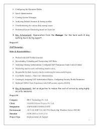 Sap Basis Resume Sample Letter Resume Source