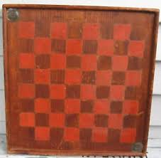 Old Wooden Game Boards ANTIQUE DESIRABLE OLD WOODEN GAME BOARD WITH RED PAINTED SQUARES 31
