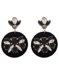 jewelled disc statement earrings