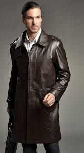 black label leather trench coats for men