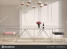 Weiß Rosa Und Grau Esszimmerstühle Stockfoto