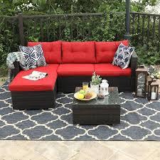 piece rattan outdoor sectional sofa